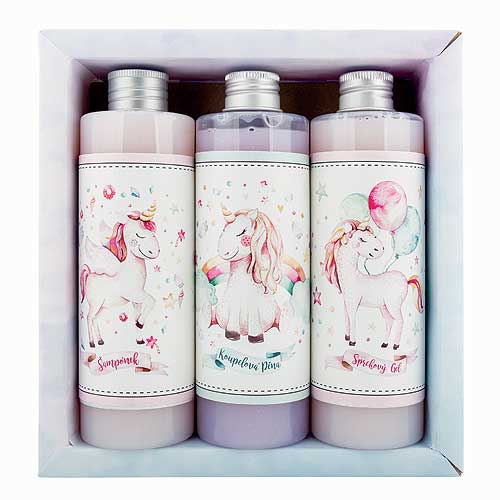 Set for girls gel 250ml, shampoo 250ml and foam 250ml - unicorn