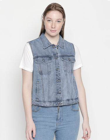 Hamburg Light Blue Denim Vest Jacket