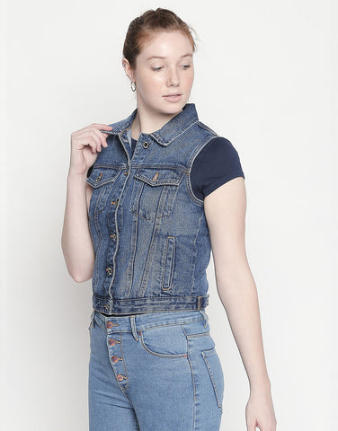 Hamburg Mid Blue Denim Vest Jacket