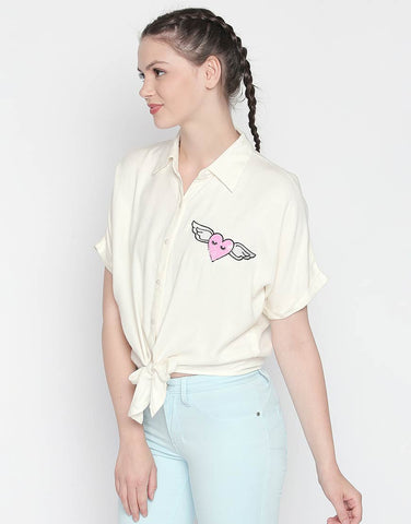 Short Sleeve Tie-Up Shirt With Flying Heart Patch