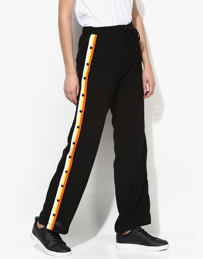 Black Moss Crepe Flared Pants With Striped Detail