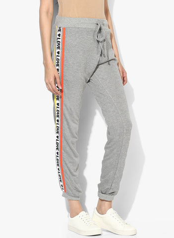 Knitted Joggers With Printed Twill Tapes
