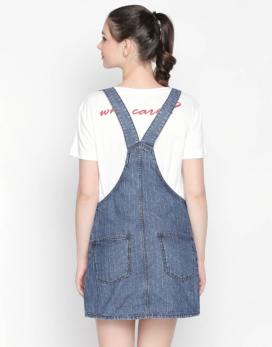 Geneva Indigo Stripe Dress Dungaree