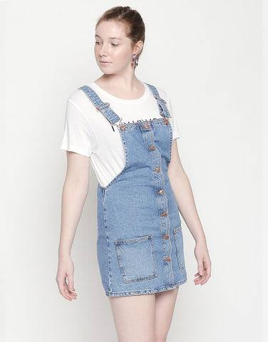 Geneva Mid Blue Dungaree Denim Dress