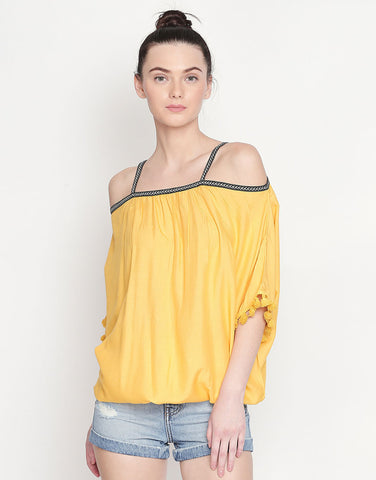Viscose Rayon Cold Shoulder Top