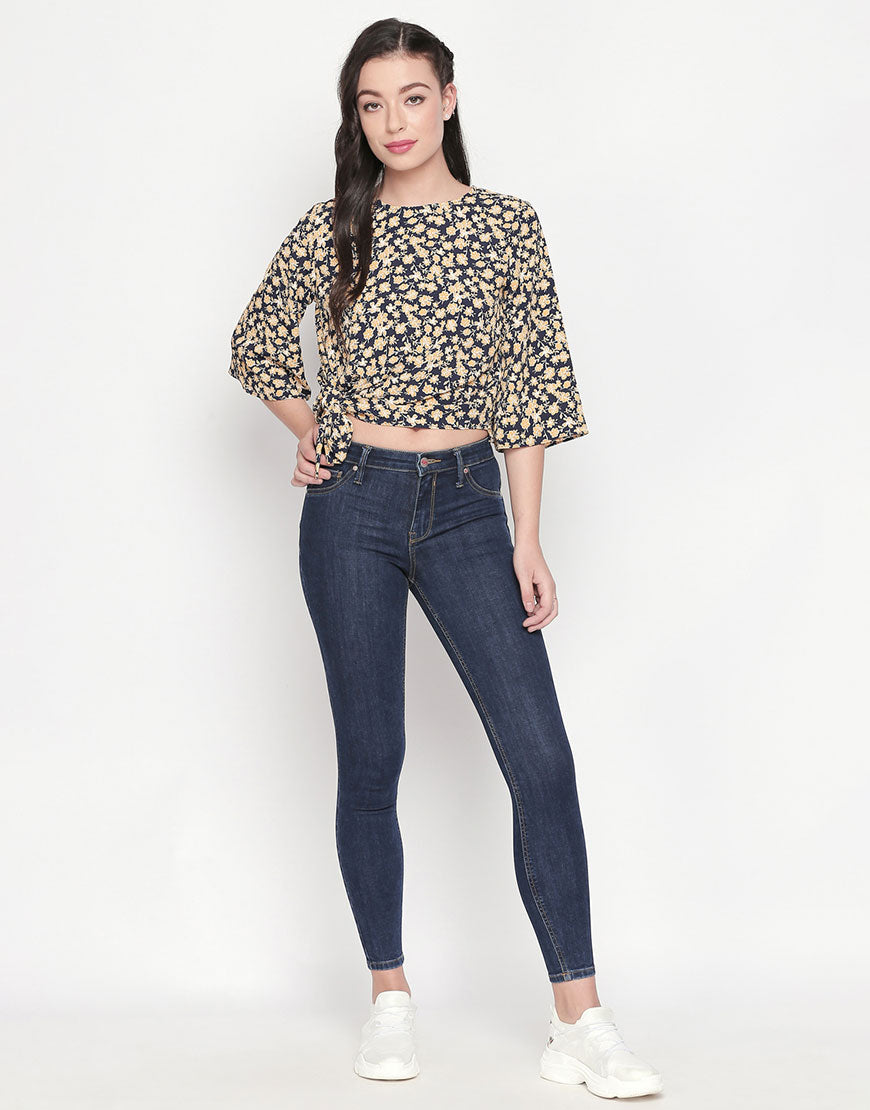 Printed Tie Up Hem Top