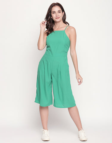 Strappy Solid Culotte Jumpsuit