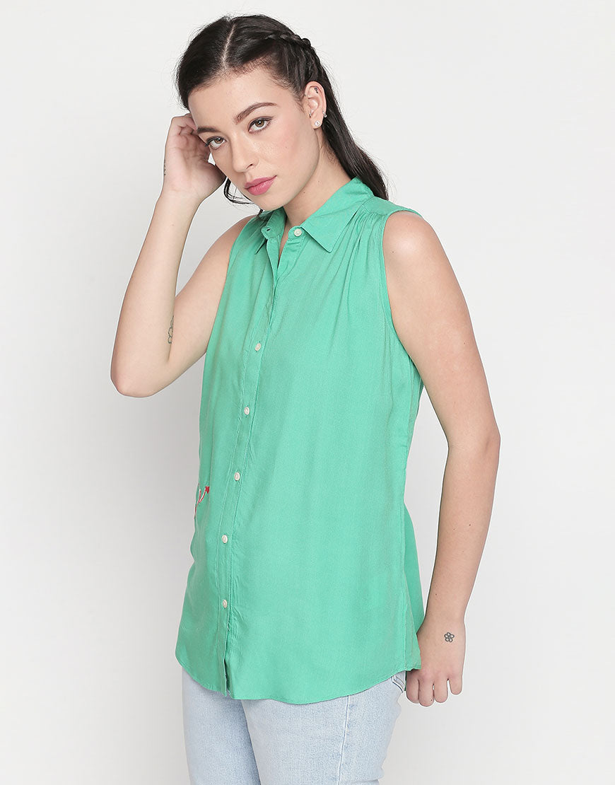 Sleeveless Top With Amore Embroidery