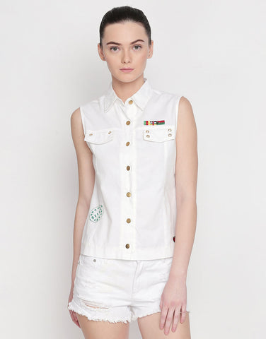 Sleeveless White Shacket