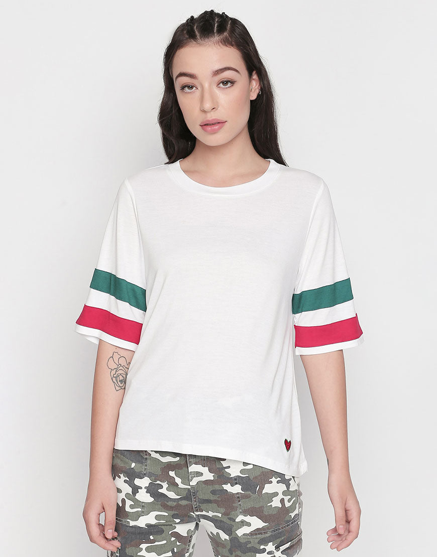 Round Neck T-Shirt With Contrast Tapes At Sleeves