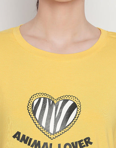 Short Sleeve T-Shirt With Animal Lover Print