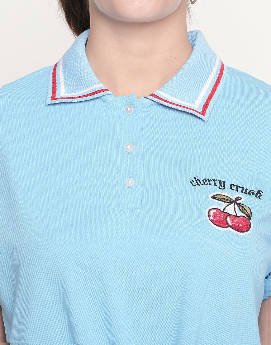 Blue Polo Neck Tie-Up T-Shirt