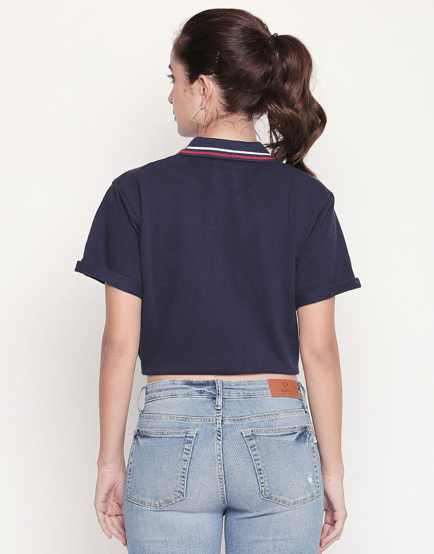 Navy Polo Neck Tie-Up T-Shirt