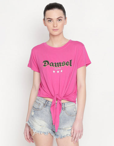 Short Sleeve  Tie Up T-Shirt With Slogan Print