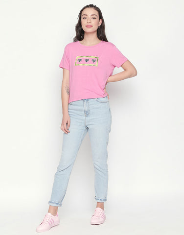 Short Sleeve T-Shirt With Heart Print