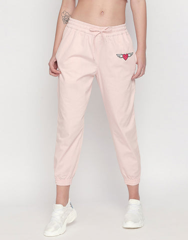 Joggers With Flying Heart Patch And Love Print