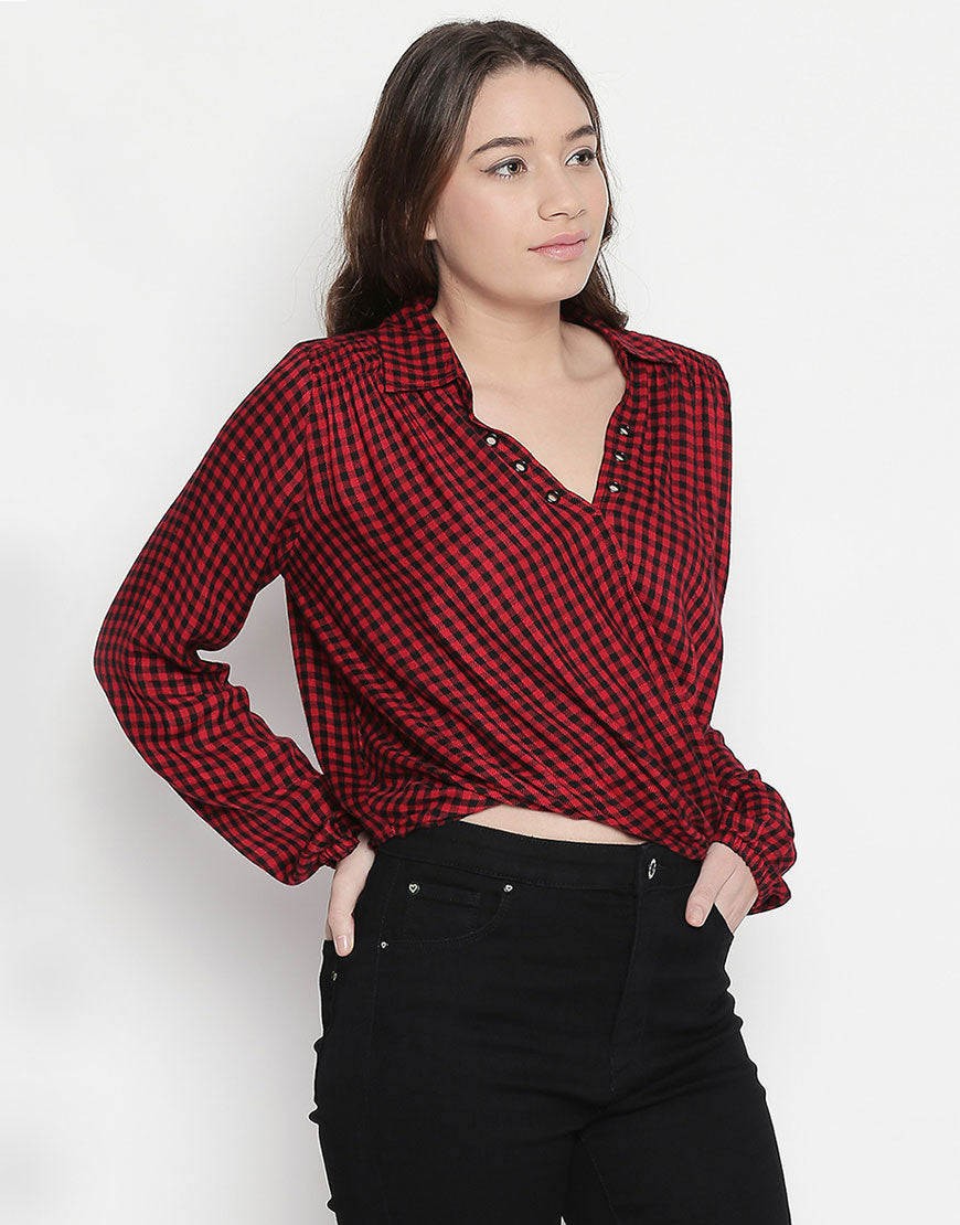 Checkered Red Wrap Shirt