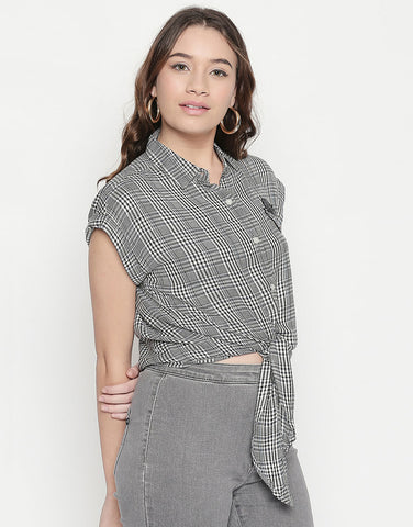 Tie-Up Checkered Shirt With Badge