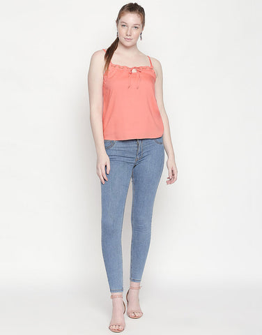 Coral Starppy Top With Eyelet Detail