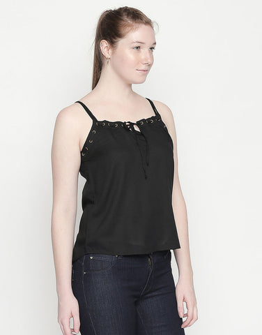 Black Starppy Top With Eyelet Detail