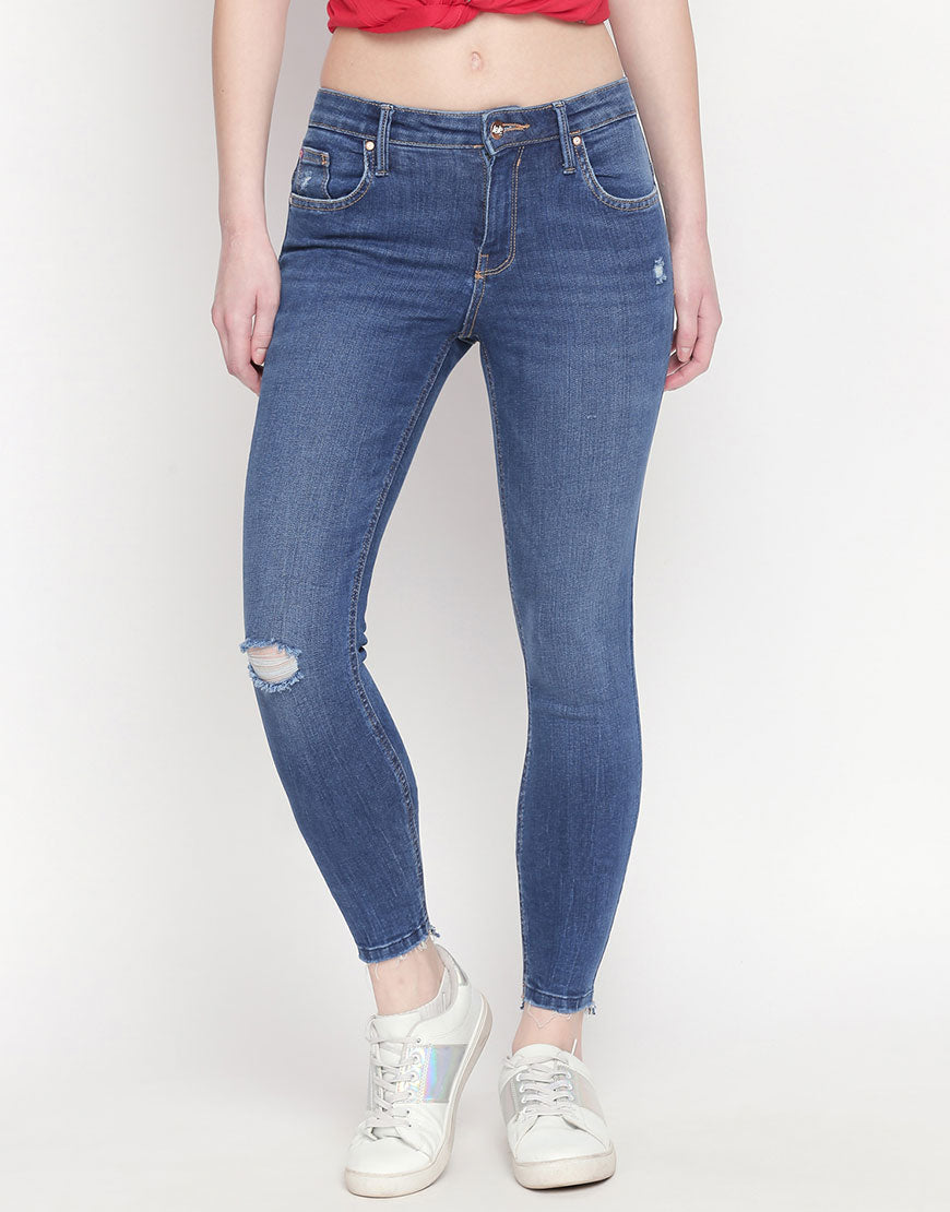 Seoul Mid Blue Push Up Jeans