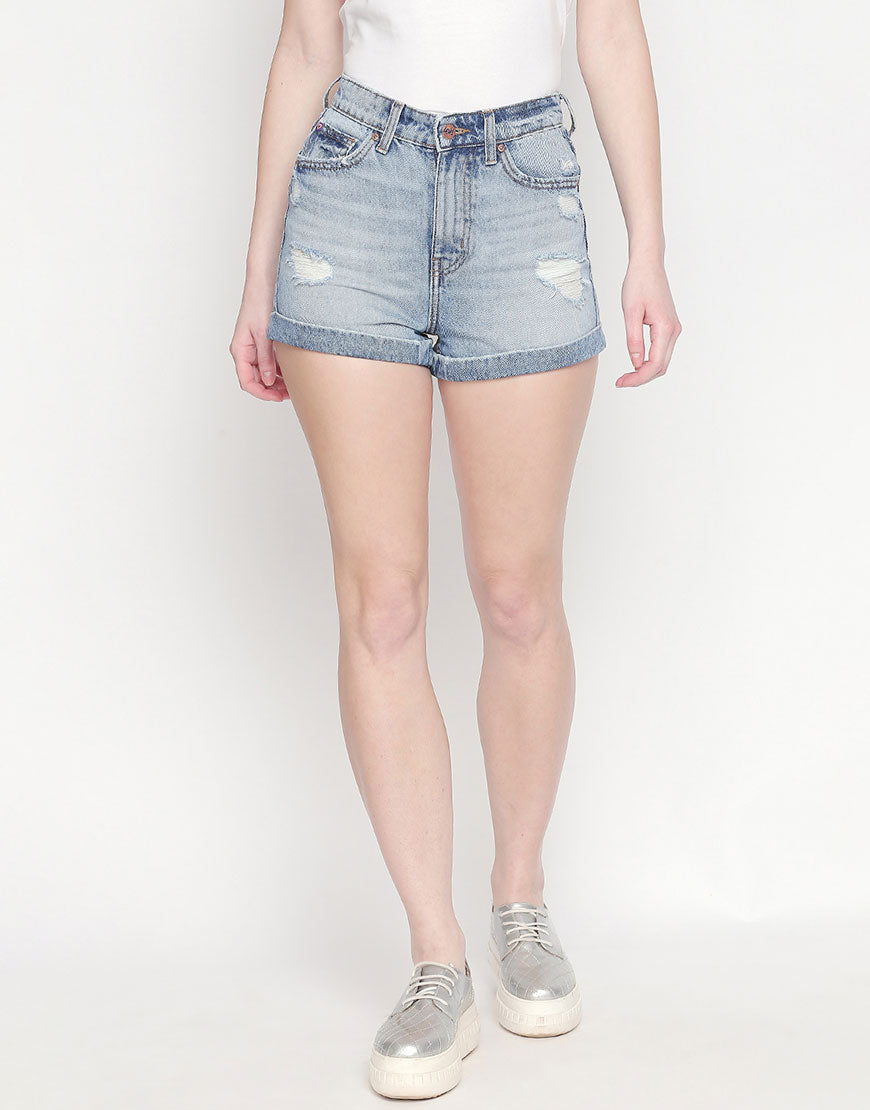 Ripped Mid Blue Denim Shorts
