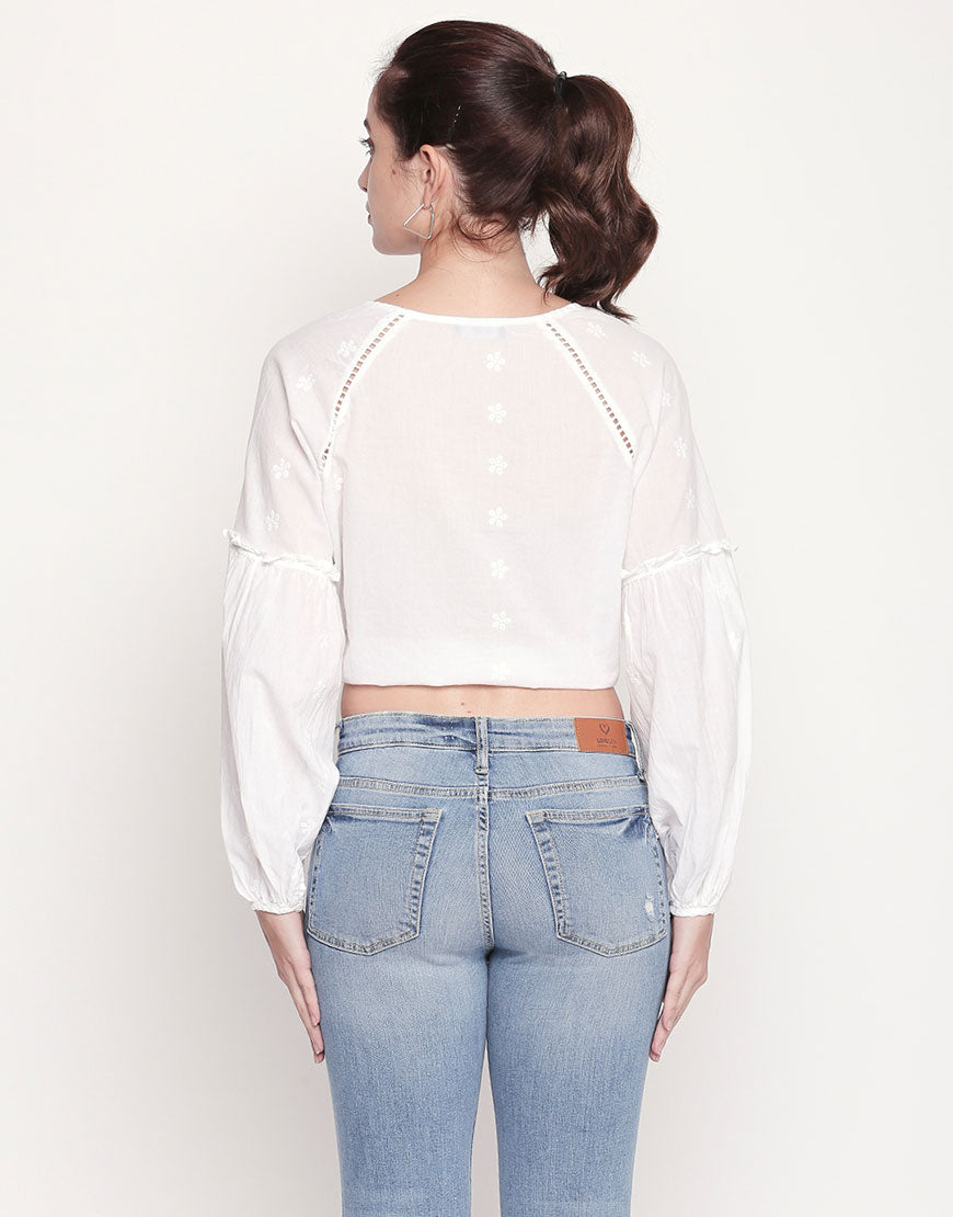 Tie Up Hakoba Blouse With Ladder Lace Detail