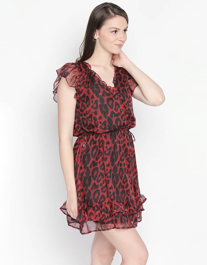 Cheetah Print V Neck Dress With Elasticated Waist