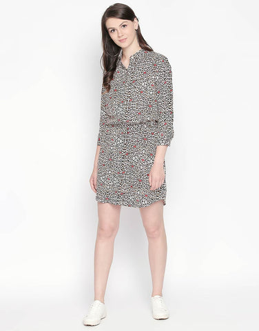 Shirt Dress With Waist Tie-Up