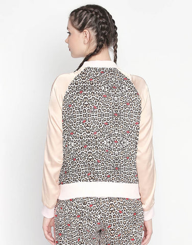 Printed Bomber Jacket With Contrast Sleeves