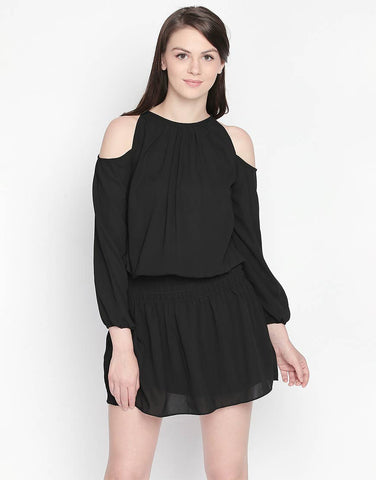 Black Cold Shoulder Short Dress