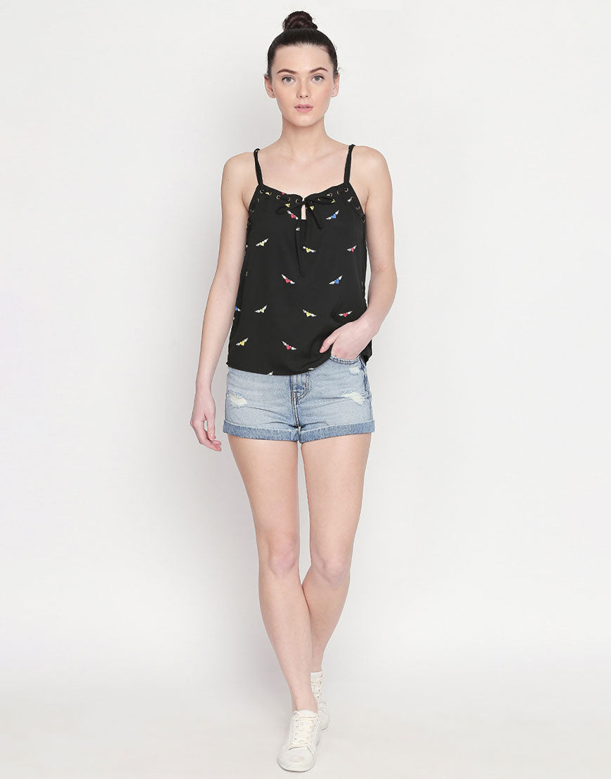 All Over Printed Strappy Top With Eyelet Detail