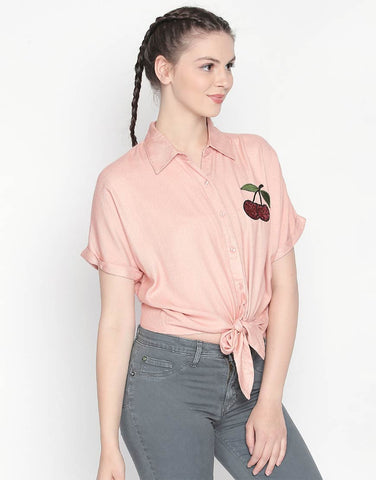 Short Sleeve Tie-Up Shirt With Cherry Patch