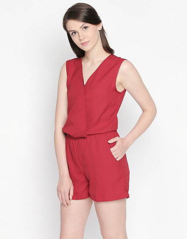 Sleeveless Playsuit With Elasticated Waist