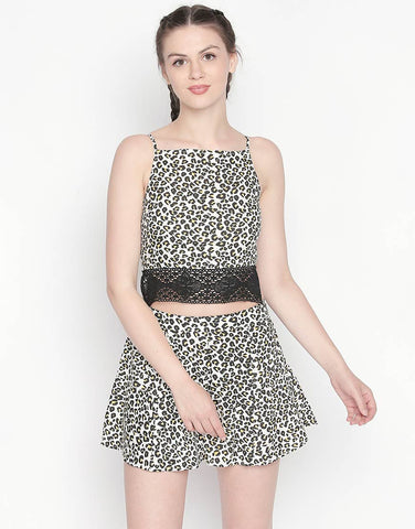 Backless Strappy Printed Crop Top