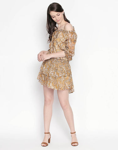 Full Sleeves Printed Dress With Elasticated Waist