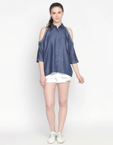 Cold Shoulder Denim Shirt
