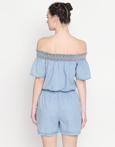 Off-Shoulder Denim Playsuit