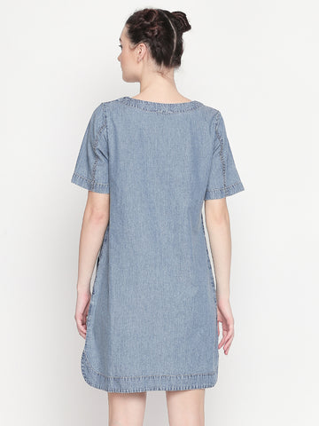 Denim Shift Dress Slogan Print