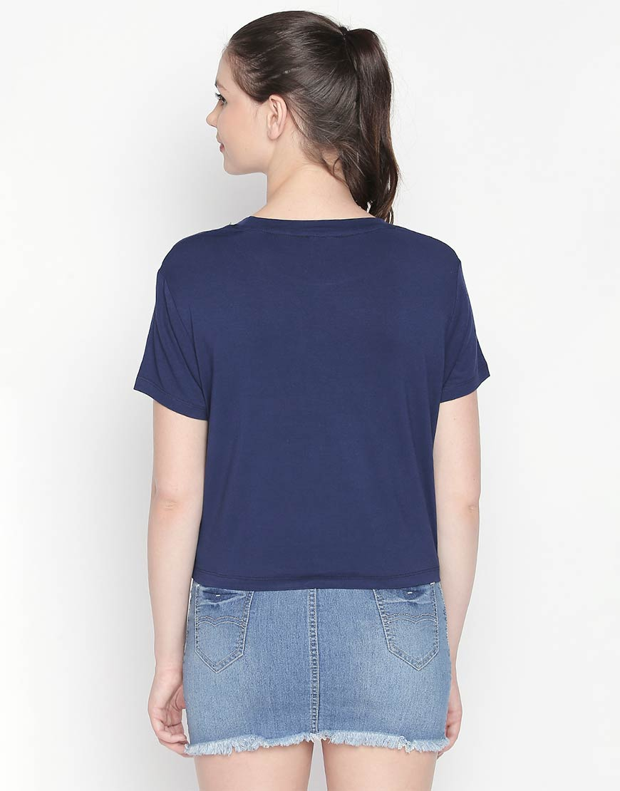 Printed Navy Crop Tee