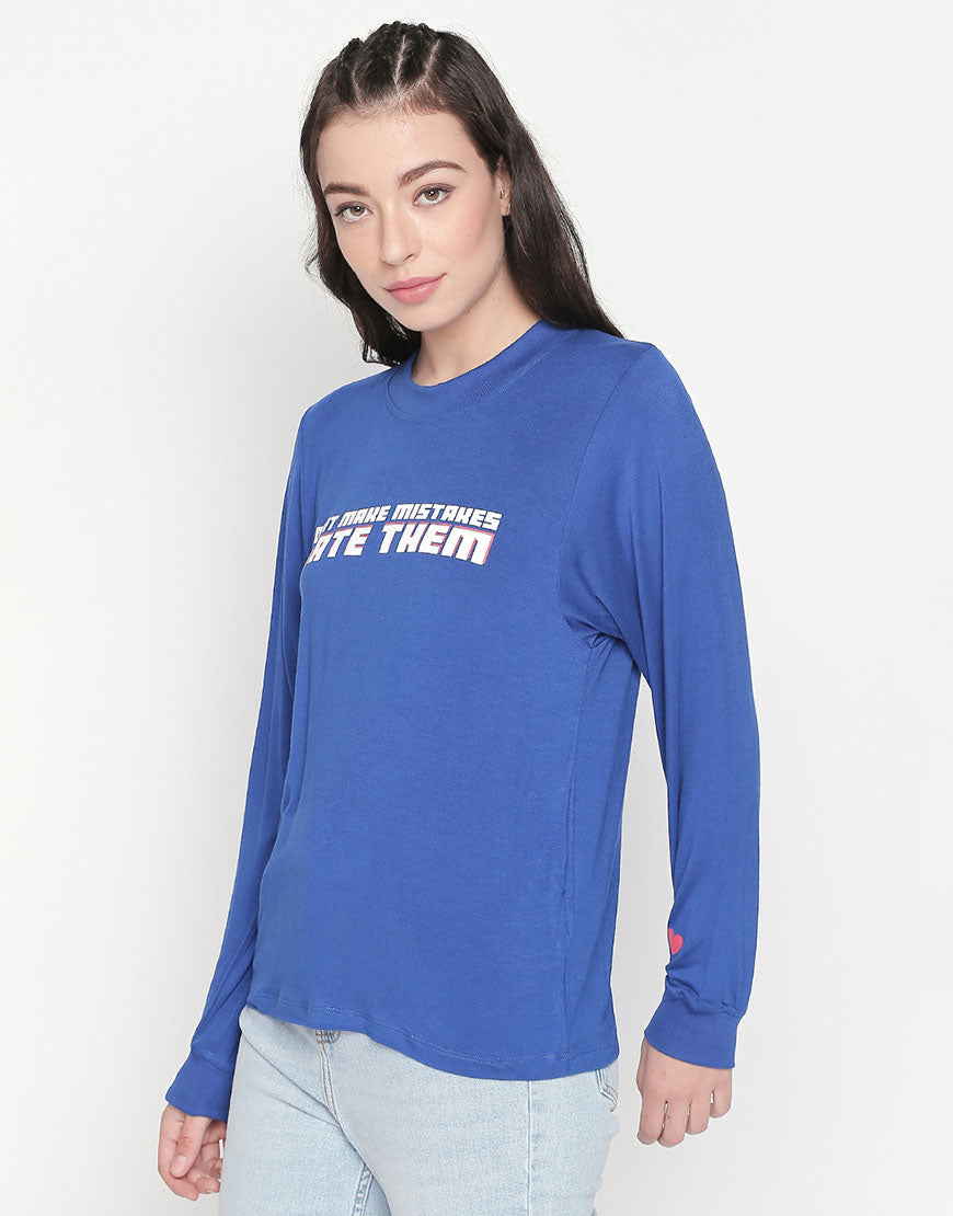 Full Sleeve T-Shirt With Slogan Print