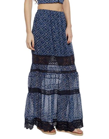 Aztec Print Crepe Maxi Skirt With Lace Details