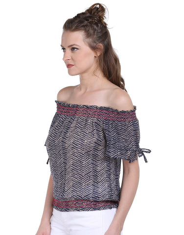 Leheriya Print Polyester Off-Shoulder Top