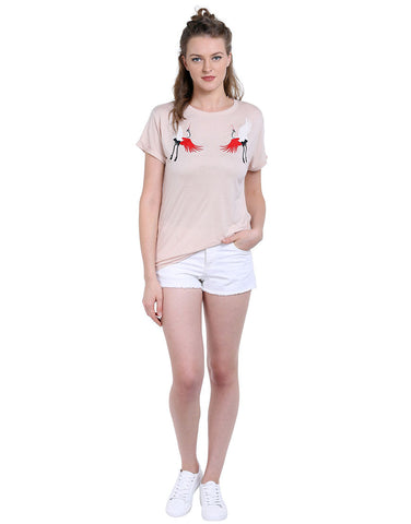 Baby Pink  Viscose Bird Embroidered T-Shirt