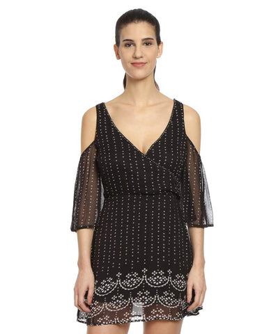 Bandhani Print Cutout Drop Shoulder Crossover Viscose Dress
