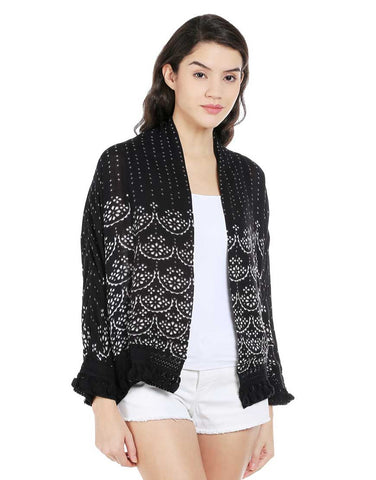 Bandhani Print Viscose Cover Up Jacket With Tassels