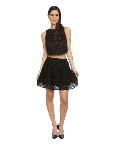 Black Cotton Box Pleated Hakoba Skirt