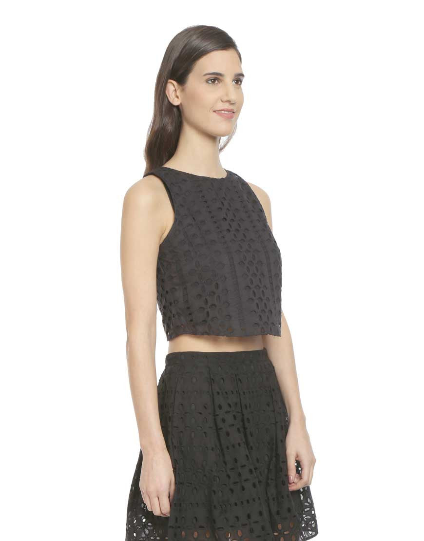 Black Cotton Hakoba Crop Top