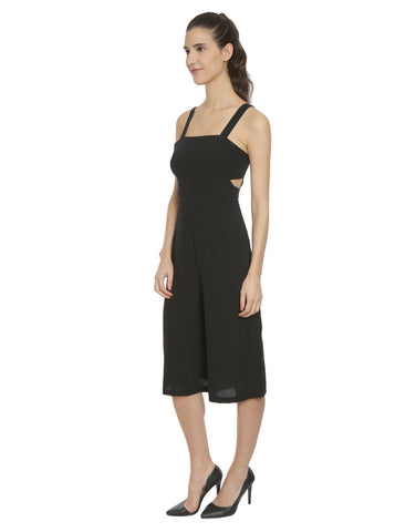 Black Crepe Cut Out Culotte Jumpsuit