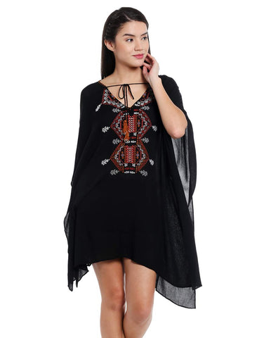 Black Embroidered Woven Cotton Kaftan Dress